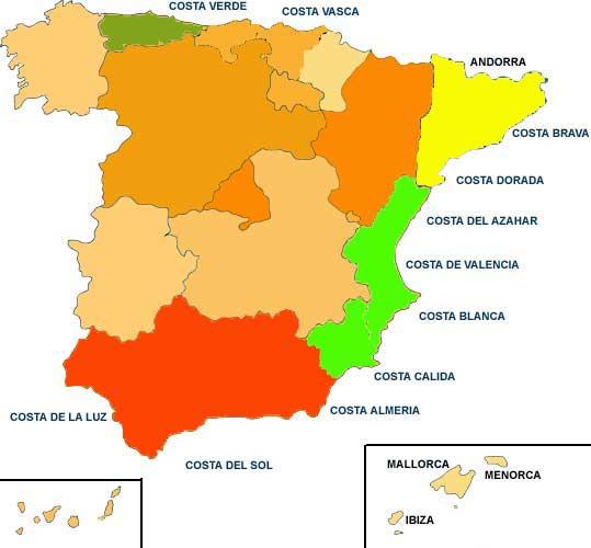 Costas españolas Mapa