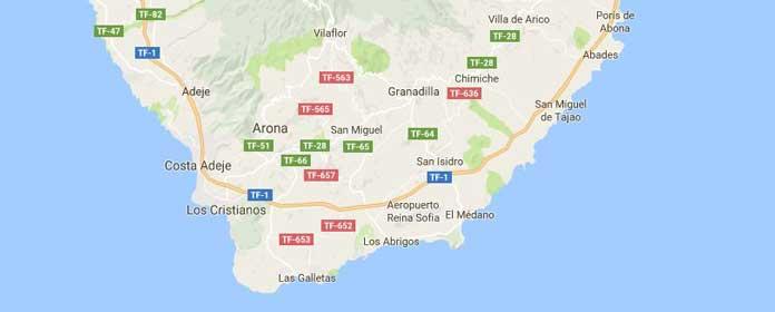 Mapa of Tenerife Sur