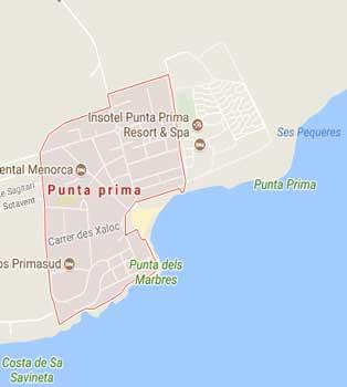 map of Punta Prima