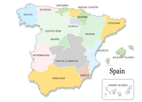 Regions of Spain map